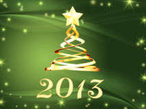 Golden year 2013 and christmas tree with stars. Year 2013 and christmas tree over green background with golden stars royalty free illustration