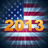 Golden year 2013 over shining american flag. 3d golden year 2013 with rays and shining american flag Stock Photography