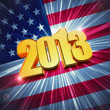 Golden year 2013 over shining american flag. 3d golden figures year 2013 with rays and shining american flag Royalty Free Stock Photos