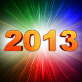 Golden year 2013 with rainbow rays. Golden year 2013 with light rays over rainbow colorful background Stock Images