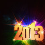Golden year 2013 with rainbow rays and stars Royalty Free Stock Image