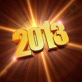 Golden year 2013 with shining rays Royalty Free Stock Image