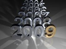 Golden Year. Digitally generated image of successive years leading to 2009. Numbers made of steel and number 9 made of golden material royalty free illustration