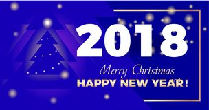 Golden Year 2018 blue background. Vector illustration of greetings.. Golden Year 2018 blue background. Christmas background design with Christmas tree and shiny Stock Image