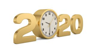 Golden 2020 year and clock isolated on white background. 3D illustration.  stock illustration