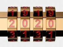 Golden 2020 Year combination lock stock photography