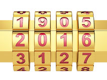 Golden 2016 Year combination lock Royalty Free Stock Photos