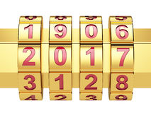 Golden 2016 Year combination lock Royalty Free Stock Photo