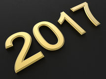 2017 - golden year. 3D render illustration of the number 2017 textured with a golden material. The whole composition is isolated on a black background Royalty Free Stock Photography