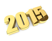 Golden 2015 year figures. Golden 3D 2015 year figures isolated on white background royalty free illustration