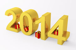Golden 2014 year with gifts 3d Stock Photos