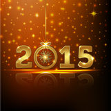 Golden 2015 year greeting card Stock Images