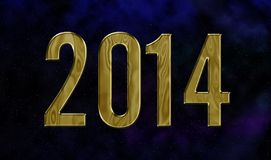 Golden year 2014. Happy new year 2014 card with universe theme stock illustration