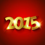 Golden 2015 Year on red background  greeting card Royalty Free Stock Image