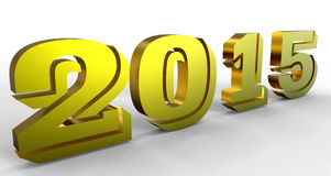 Golden 2015 year sign. 3D golden render of 2015 year Royalty Free Stock Image
