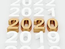 Golden 2020 year sign. Soft focus stock photo