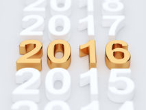 Golden 2015 year sign. Soft focus. 3d illustration of golden 2016 year sign. Soft focus Royalty Free Stock Photos