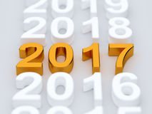 Golden 2017 year sign. Soft focus Stock Image