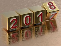 Golden 2018 year transition concept. 3D render illustration of the concept of changing the year to 2018 . The composition is reflected on a golden metallic Royalty Free Stock Photo