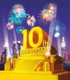 Golden 10 years anniversary Royalty Free Stock Photo