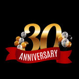 Golden 30 Years Anniversary Template with Red Ribbon Vector Illu Stock Photos