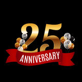 Golden 25 Years Anniversary Template with Red Ribbon Vector Illu Royalty Free Stock Photos