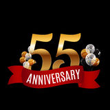 Golden 55 Years Anniversary Template with Red Ribbon Vector Illu. Stration EPS10r Stock Photos