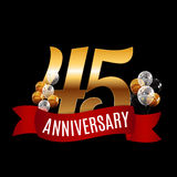 Golden 45 Years Anniversary Template with Red Ribbon Vector Illu Royalty Free Stock Photo
