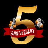 Golden 5 Years Anniversary Template with Red Ribbon Vector Illus Stock Photos
