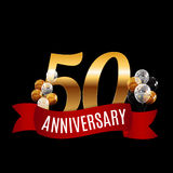 Golden 50 Years Anniversary Template with Red Ribbon Vector. Illustration EPS10r Royalty Free Stock Photo