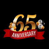 Golden 65 Years Anniversary Template with Red Ribbon Vector. Illustration EPS10r vector illustration