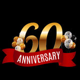Golden 60 Years Anniversary Template with Red Ribbon Vector. Illustration EPS10r royalty free illustration