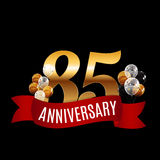 Golden 85 Years Anniversary Template with Red Ribbon Vector. Illustration EPS10r Stock Images