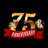 Golden 75 Years Anniversary Template with Red Ribbon Vector  Royalty Free Stock Photo