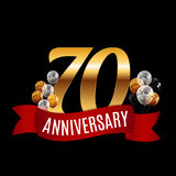 Golden 70 Years Anniversary Template with Red Ribbon Vector  Royalty Free Stock Image
