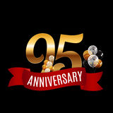Golden 95 Years Anniversary Template with Red Ribbon Vector  Royalty Free Stock Photo