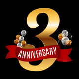 Golden 3 Years Anniversary Template with Red Ribbon Vector  Royalty Free Stock Photography