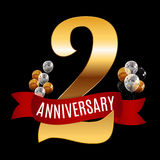 Golden 2 Years Anniversary Template with Red Ribbon Vector  Royalty Free Stock Photo