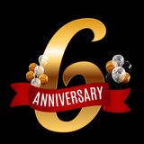 Golden 6 Years Anniversary Template with Red Ribbon Vector  Stock Photography