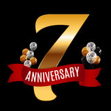 Golden 7 Years Anniversary Template with Red Ribbon Vector  Royalty Free Stock Image