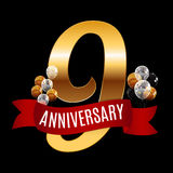 Golden 9 Years Anniversary Template with Red Ribbon Vector  Royalty Free Stock Photography