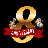 Golden 8 Years Anniversary Template with Red Ribbon Vector  Royalty Free Stock Image