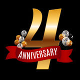 Golden 4 Years Anniversary Template with Red Ribbon Vector  Royalty Free Stock Images