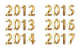 Golden year numbers 2012-2017. Golden years isolated on black with clipping path Royalty Free Stock Photos