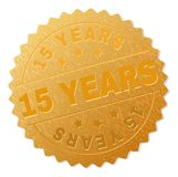 Golden 15 YEARS Medal Stamp. 15 YEARS gold stamp seal. Vector gold medal of 15 YEARS text. Text labels are placed between parallel lines and on circle. Golden Stock Illustration