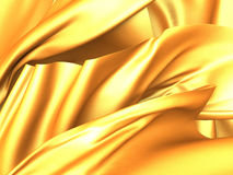 Golden yellow abstract silk smooth fabric background Royalty Free Stock Photography