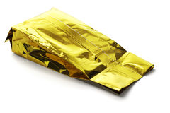 Golden Yellow Aluminum Pouch Stock Images