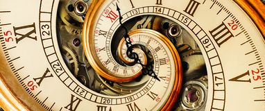 Free Golden Yellow Antique Old Clock Spiral Abstract Fractal. Retro Clock With Mechanism In The  Background. Time Spiral Concept Image  Royalty Free Stock Images - 112674759