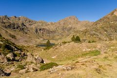Mountain view in the Parc Natural de la Vall de Arteny, Pyrenees, Andorra royalty free stock photography