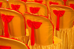 A golden yellow cover and red tape Royalty Free Stock Images